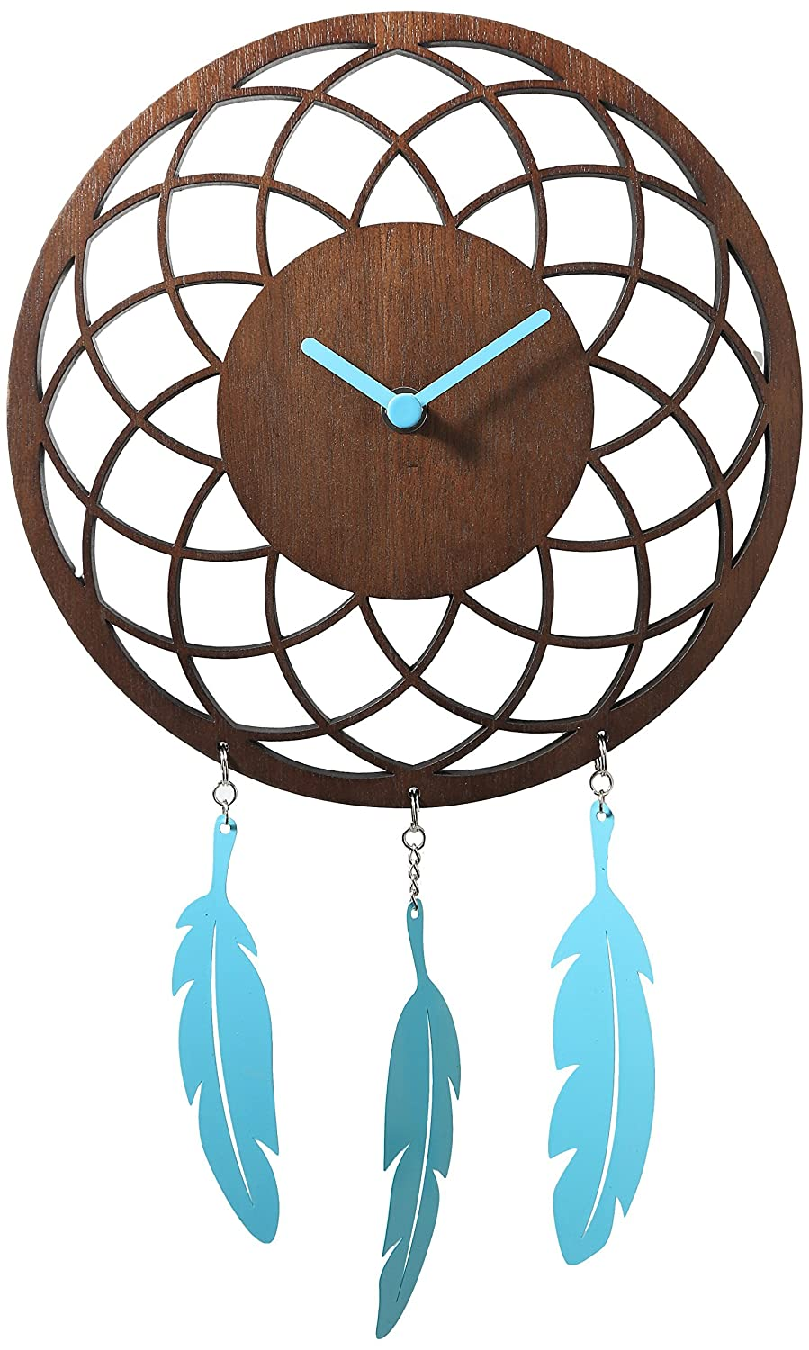 Unek Goods NeXtime Dreamcatcher Wall Clock, Wooden Face with Pink Hands and Metal Feathers, Battery Operated, Round, White