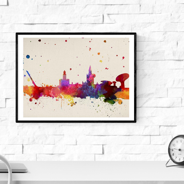 Nacnic Lámina Ciudad de Sevilla. Skyline Estilo Acuarela y explosión de Color. Poster tamaño A3 Impreso en Papel 250 Gramos y tintas Decoración del hogar. Diseño al Mejor Precio.