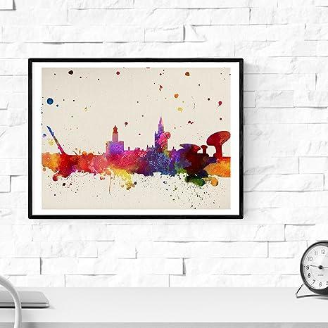 Nacnic Lámina Ciudad de Sevilla. Skyline Estilo Acuarela y explosión de Color. Poster tamaño A3 Impreso en Papel 250 Gramos y tintas Decoración del ...