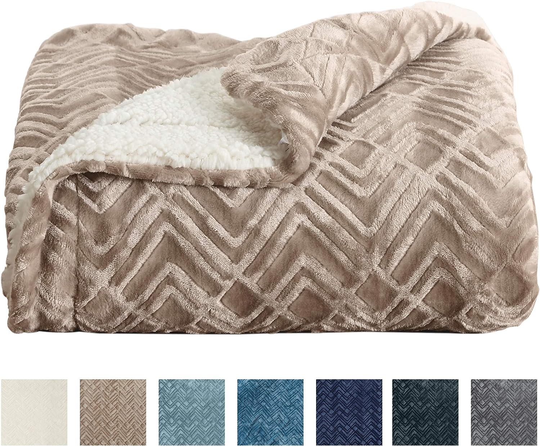 Home Fashion Designs Premium Reversible Sherpa and Fleece Velvet Plush Blanket. Fuzzy, Soft, Warm Berber Fleece Bed Blanket Brand. (Twin, Taupe)