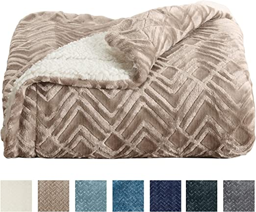 Fuzzy Home Fashion Designs Premium Reversible Two In One Sherpa And Sculpted Velvet Plush Luxury Blanket All Season Berber Fleece Throw Blanket Brand Toile Taupe Cozy Throws