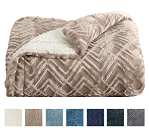 Home Fashion Designs Premium Reversible Sherpa and Fleece Velvet Plush Blanket. Fuzzy, Soft, Warm Berber Fleece Bed Blanket Brand. (Full/Queen, Taupe)
