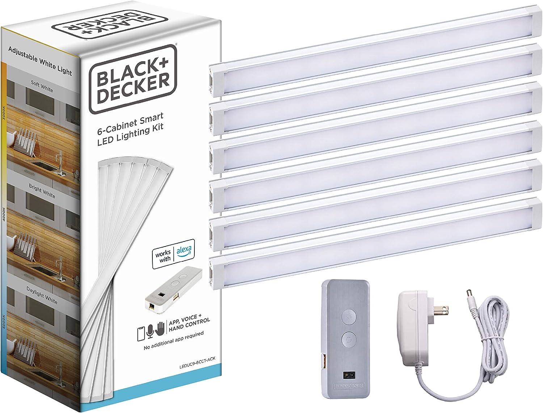 BLACK+DECKER LEDUC9-6CCT-ACK Works with Alexa Smart Under Cabinet Lighting Kit, Adjustable LEDs, (6) 9
