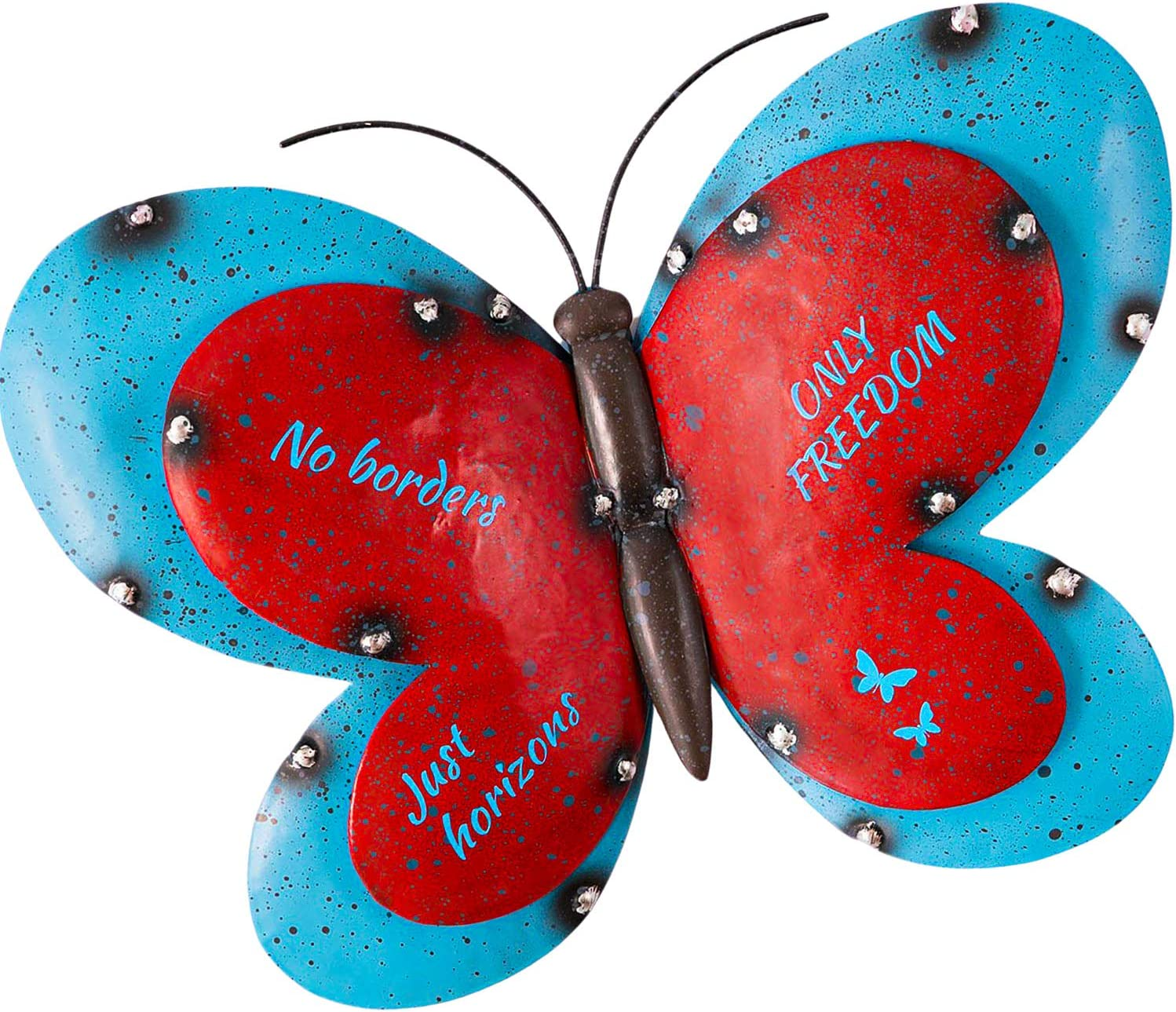 Butterfly Metal Wall Art - Outdoor / Indoor Rustic - Vintage 2-Tone Wall Hanging for Garden   Patio   Porch   Living Room   Kitchen - Handmade 3D Art Décor - 12x9 Inches - Blue / Red
