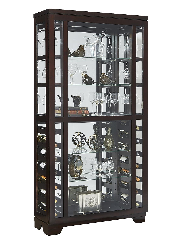 Pulaski Sliding Front Wine Curio Cabinet, Brown