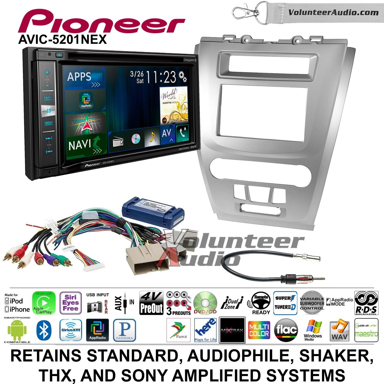 Pioneer AVIC-5201NEX Double Din Radio Install Kit with Navigation Apple Carplay Bluetooth Fits 2010-2012 Fusion (Silver)