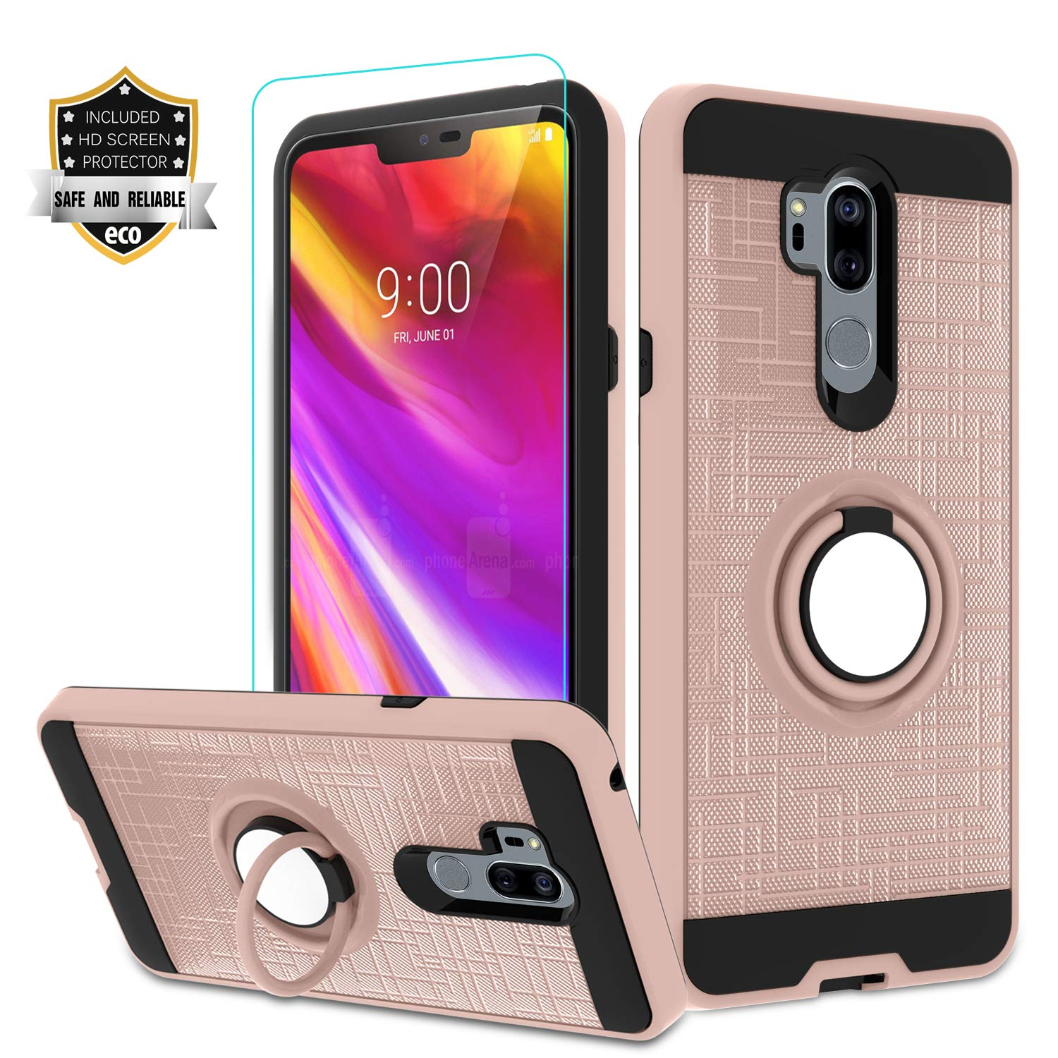 LG G7 Phone Case LG G7 ThinQ Case with HD Screen Protector,Atump 360 Degree Rotating Ring Holder Kickstand Bracket Cover Phone Case for LG G7 Rose Gold
