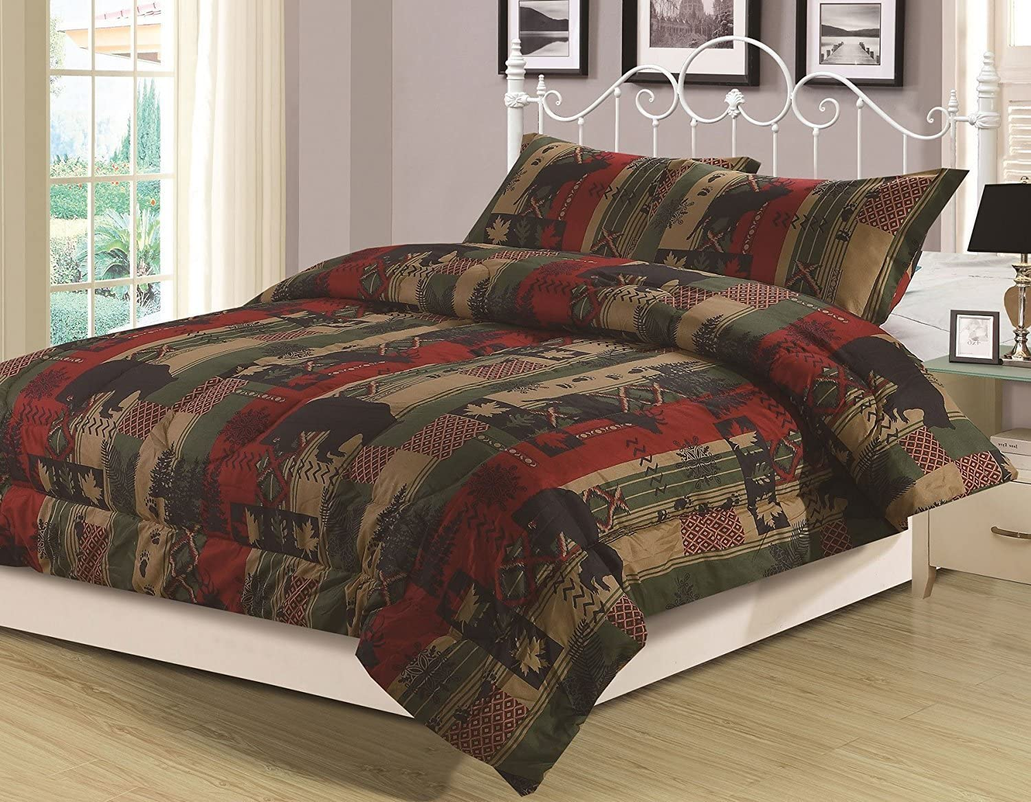 HowPlumb Rustic Southwest Twin Comforter 2 Piece Bedding Set Bear Cabin Lodge Nature Wildlife