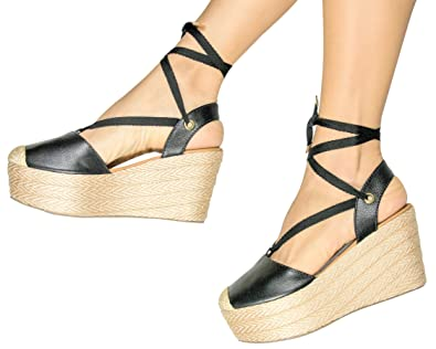 a681b3fbb VIDALeather Lace Up Wedge Sandals for Women