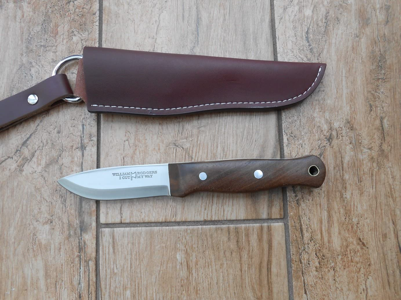Custom made by a London maker Sale Hand Crafted Bushcraft Knife – 01 Carbon Tool Steel Scandi Style Blade Walnut Handle Bargain