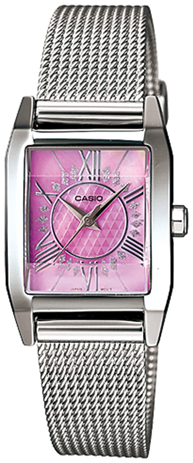 Casio Women s LTP1339BD-4A Silver Stainless-Steel Quartz Watch with Pink Dial