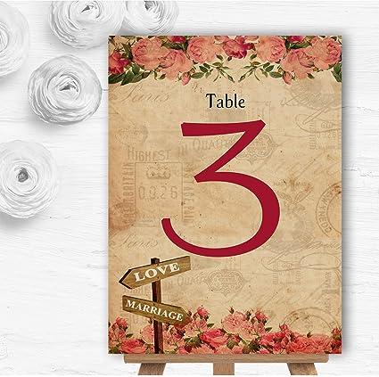 Cartel rústico de rosas rosas, estilo vintage, para mesa de ...