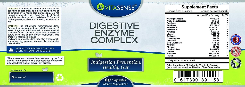 VitaSense - Complejo Digestivo de Enzimas - Prevención de la Indigestión, Salud Intestinal - 60 cápsulas by RIVENBERT