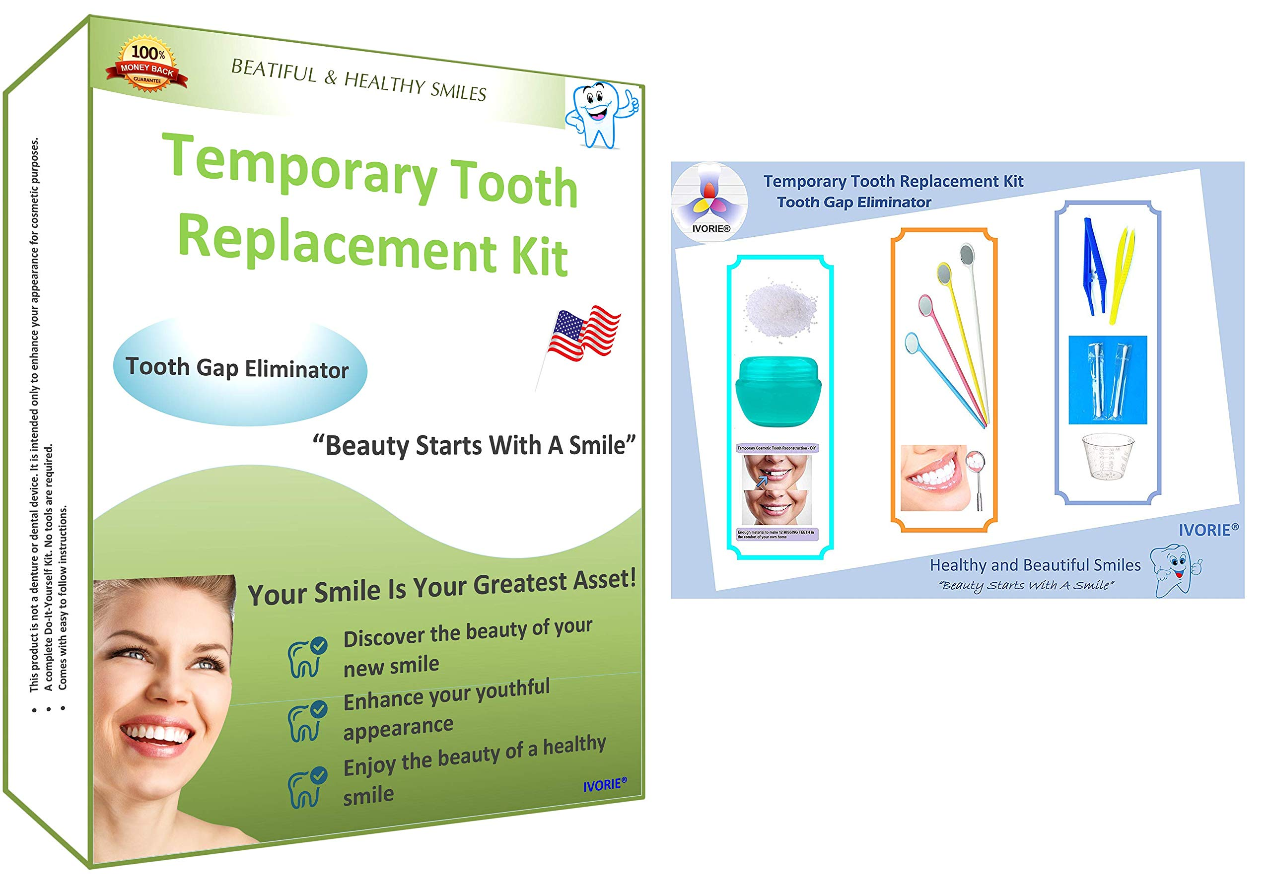 Temporary Tooth Replacement Repair Kit Replace Missing DIY Replacement Missing Tooth Repair Complete Tooth Repair Kit Do It Yourself 20 Teeth
