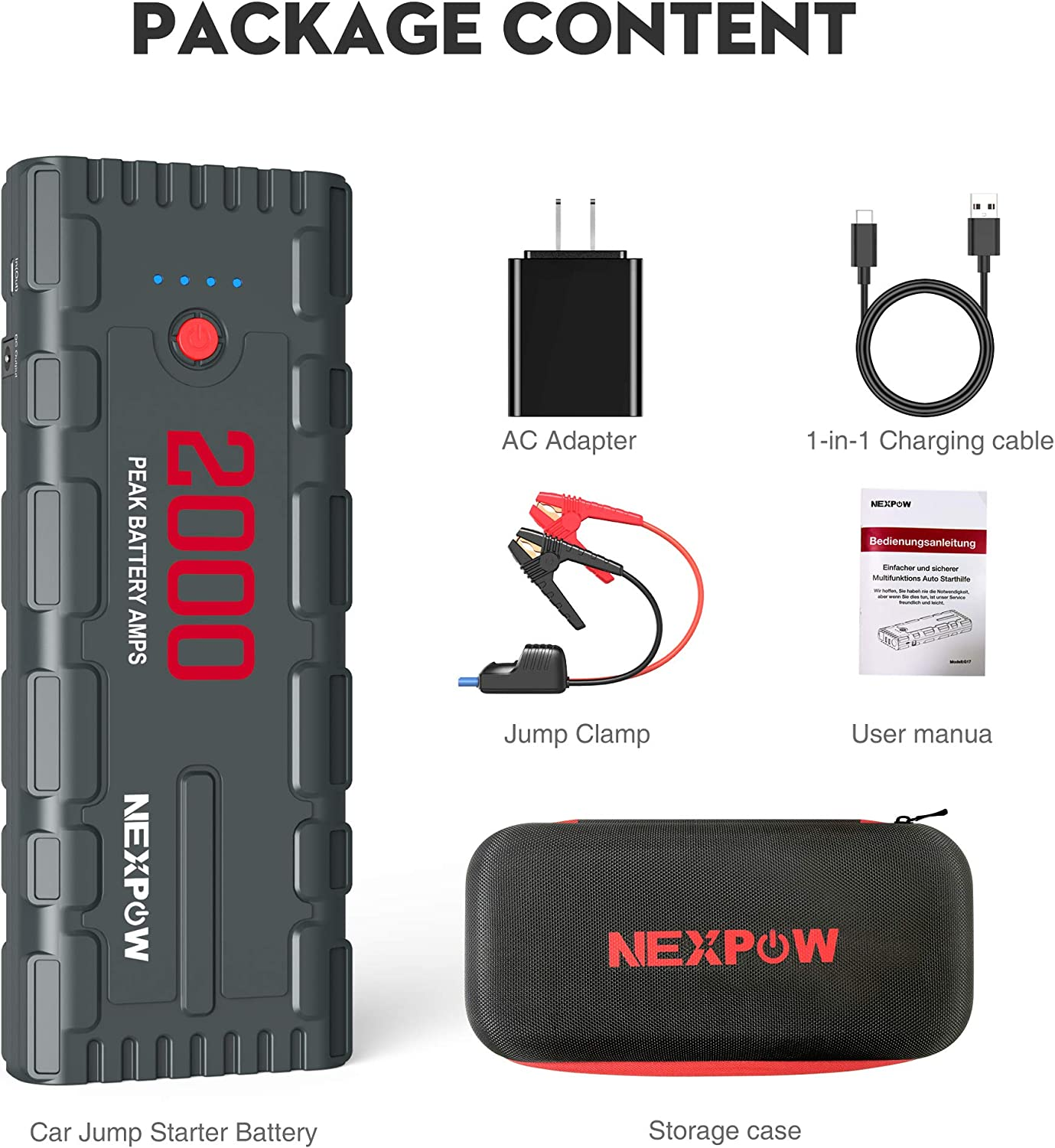NEXPOW 2000A 18000mAh Car Jump Starter with USB Quick Charge 3.0 Up to 7.0L Gas or 6.5L Diesel Engine Battery Booster with Built-in LED Light 12V Portable Battery Starter