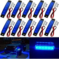 10 Pack LED Rock Strip Lights Waterproof Exterior Interior Lights Car Underglow Wheel Fender Well Lighting Kits for Golf…