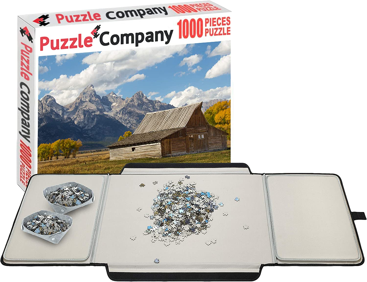 Puzzle Company Puzzle Board - 1000 Piece Jigsaw Puzzle Included – Large Puzzle Table Fits 1000 Piece Jigsaw Puzzles – Premium Puzzle Saver Includes 2X Puzzle Insert Mats and 2X Puzzle Sorting Trays: Toys & Games