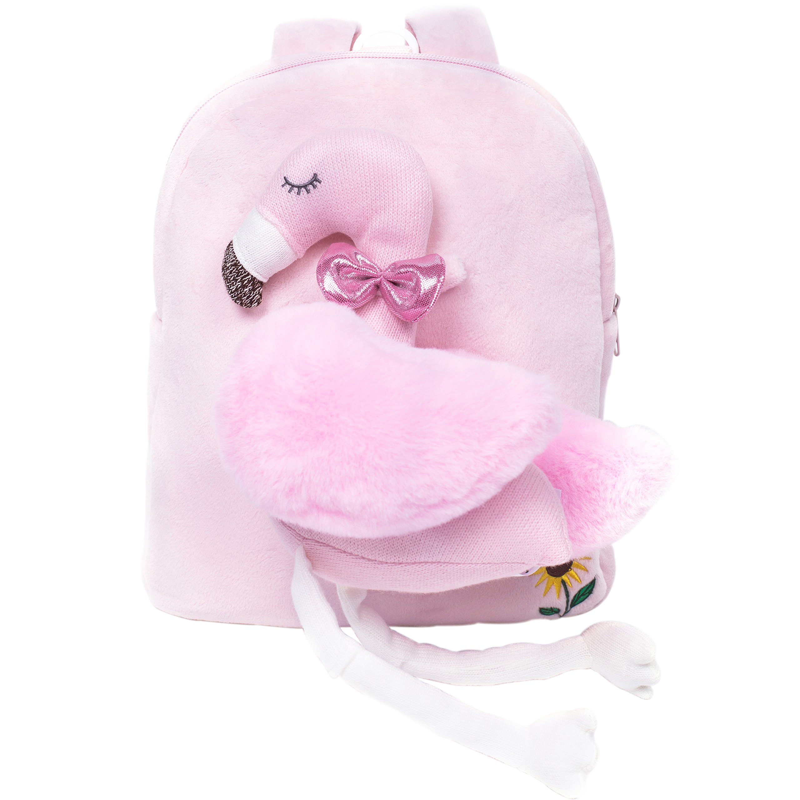 Toddler Backpack-TALENTBABY Plush Kids Backpack with Leash Safety Harness and Cute 3D Cartoon Animals Toy for 1-6 Years Old Girls Boys(Pink Flamingo)