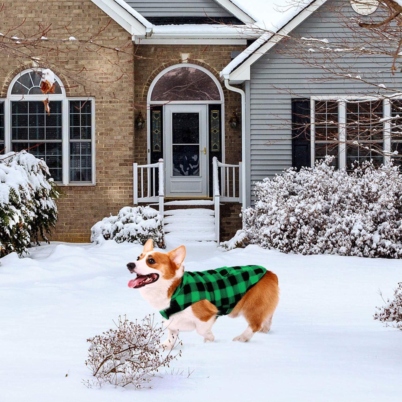 ASENKU Dog Winter Coat Dog Jacket Plaid Reversible Dog Vest Waterproof Cold Weather Dog Clothes Pet Apparel for Small Medium Large Dogs