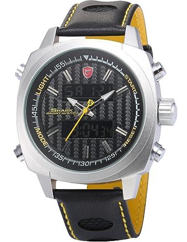 Silvertip Shark Deportivos Relojes De Pulseras Hombre Piel Alarma Día Fecha Pantalla LED SH491: Amazon.es: Relojes