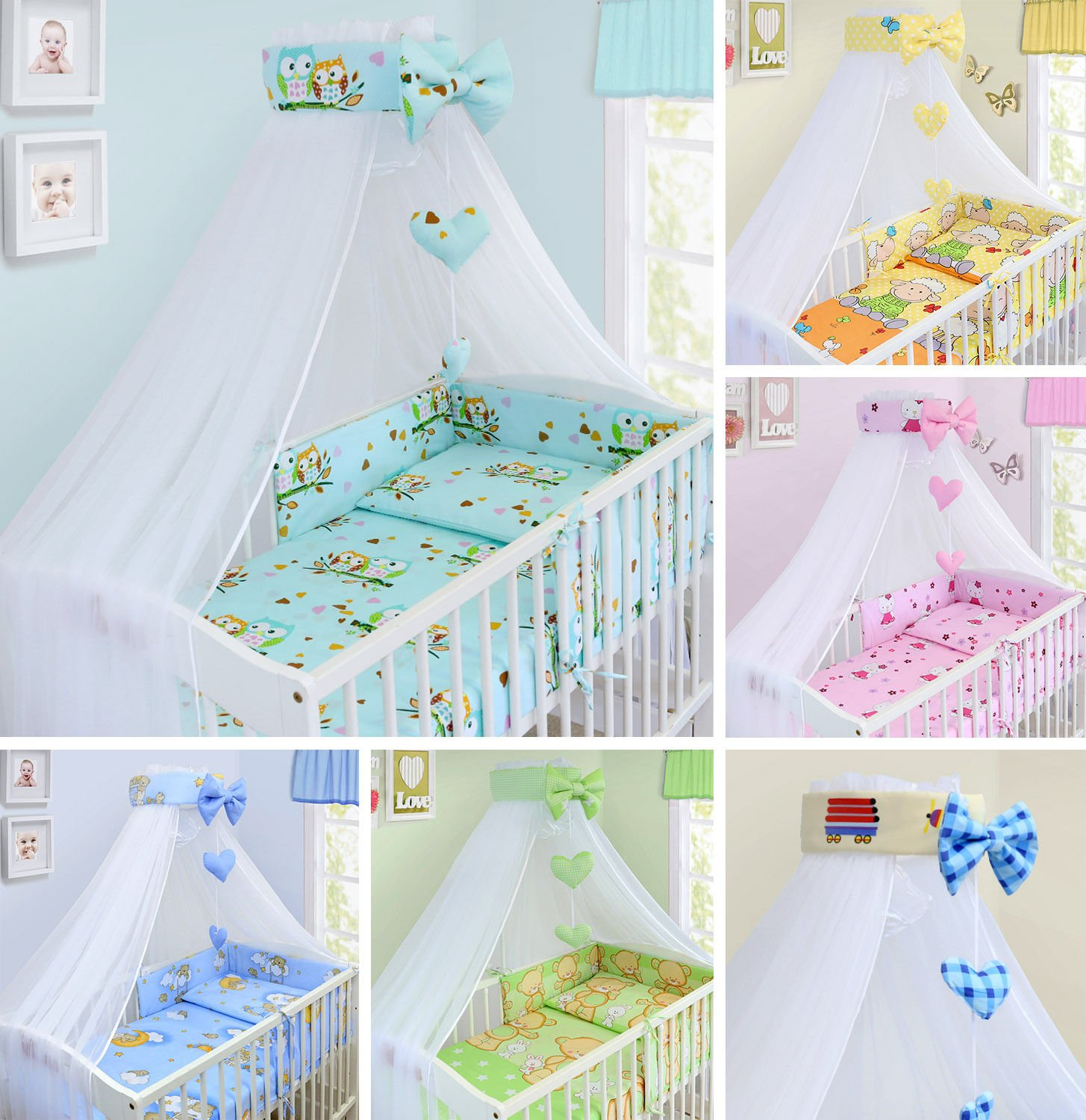 LUXURY 14Pcs BABY BEDDING SET COT BED 140x70cm PILLOW DUVET COVER BUMPER FEEDING PILLOW COT TIDY CHANGING MAT CANOPY (Stars White) TheLittles24