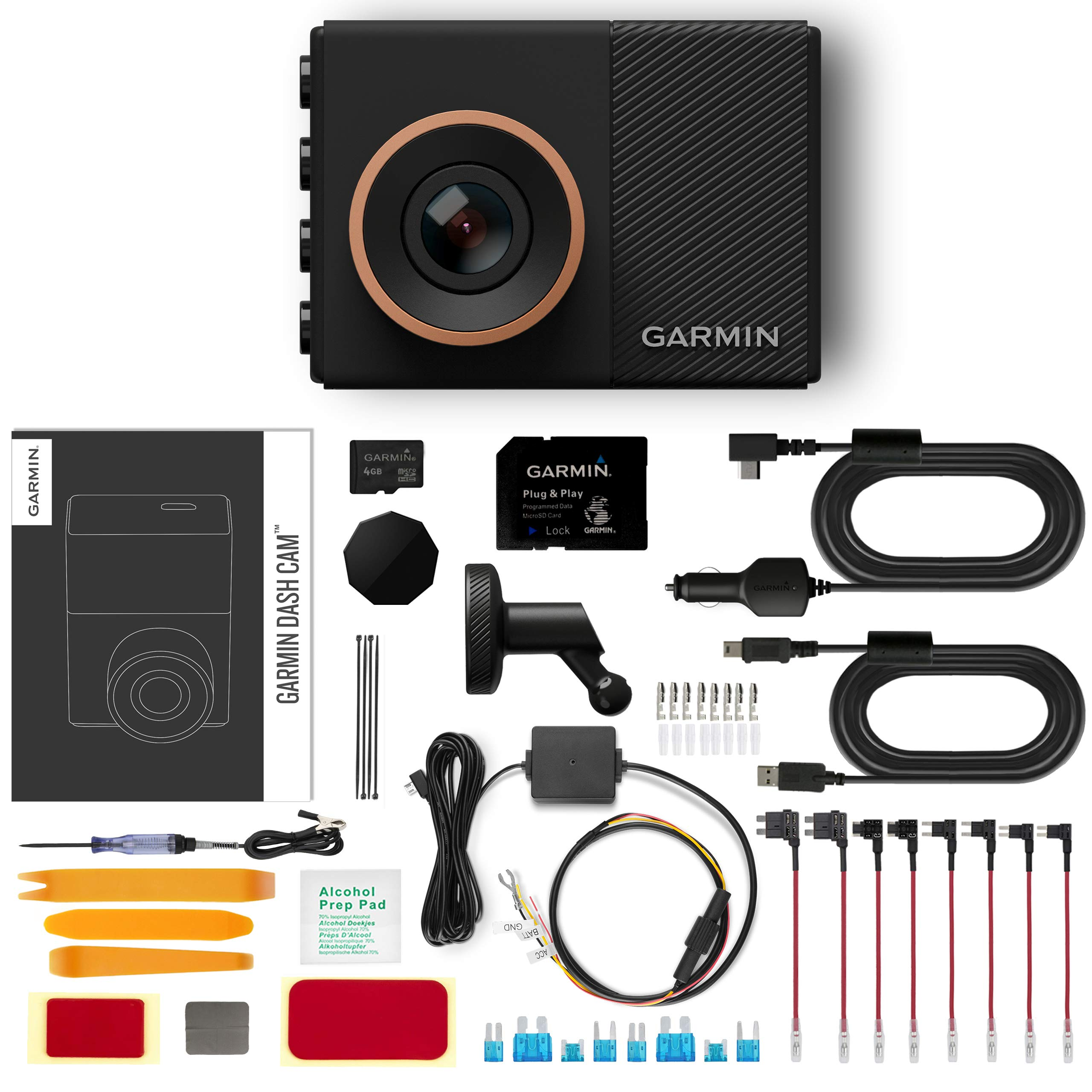 Garmin Dash Cam 55 Parking Mode Bundle with Installation Tool Kit | Parking Mode Cable and Hardwire Installation Kit Included | 8GB MicroSD Card,WiFi, 1440P, GPS, Voice Control, Timelapse