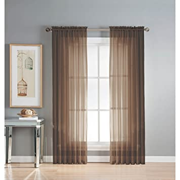 Amazon.com: Window Elements Solid Voile Sheer Rod Pocket Curtain ...