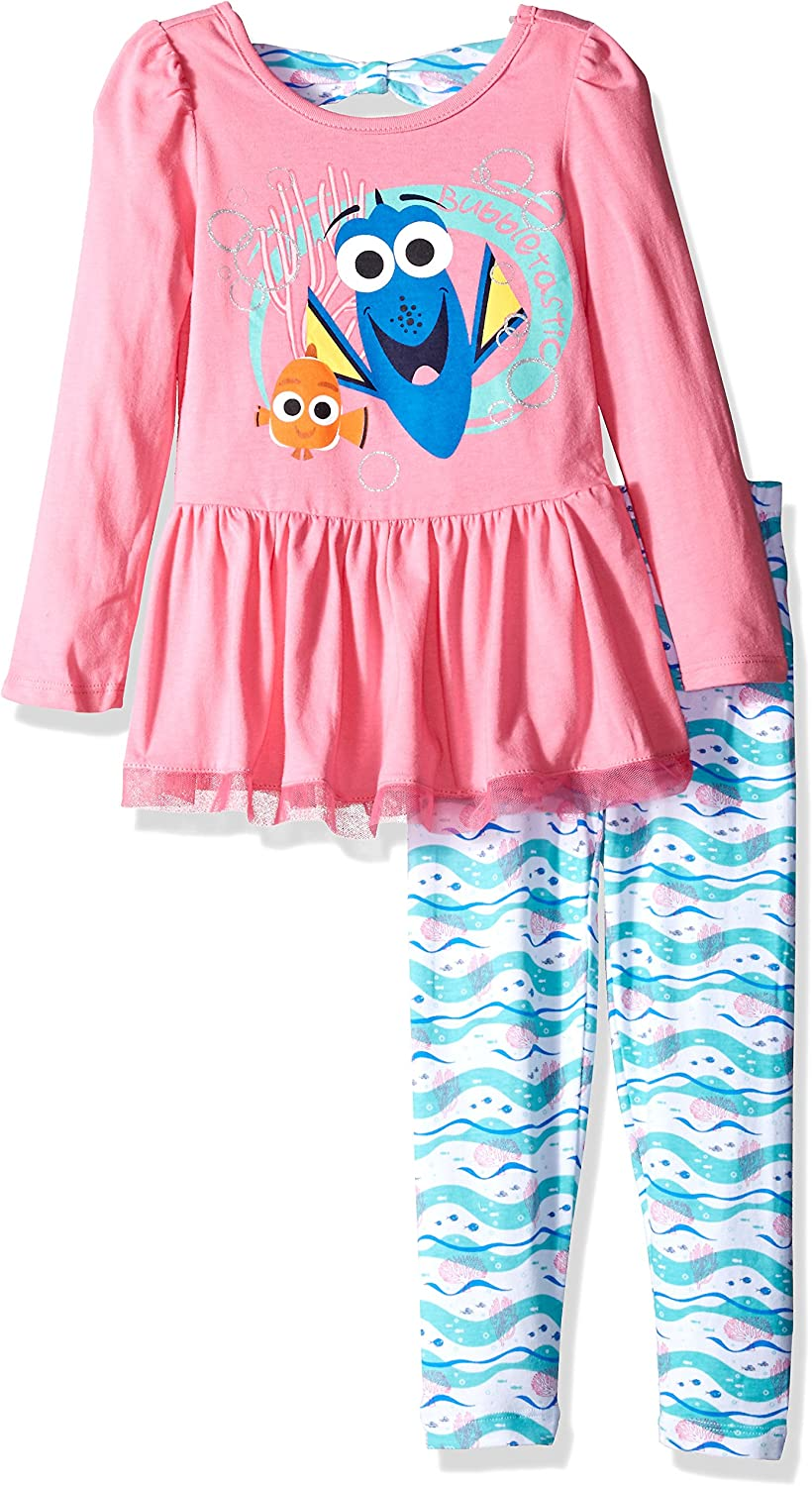 Sleeve Finding Dory T-Shirt Toddlers//Girls Bow New DisneyTurquoise Short 2T- 6x