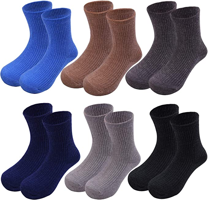 5 Pairs Car Colorful Cotton Crew Seamless Socks for Kids Toddler Big Little Boys Girls