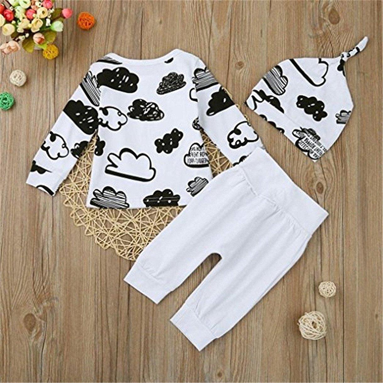 Queque Shine Neonato Unisex T Shirt Nube Stampa Camicia Tops Pantaloni Abiti Set