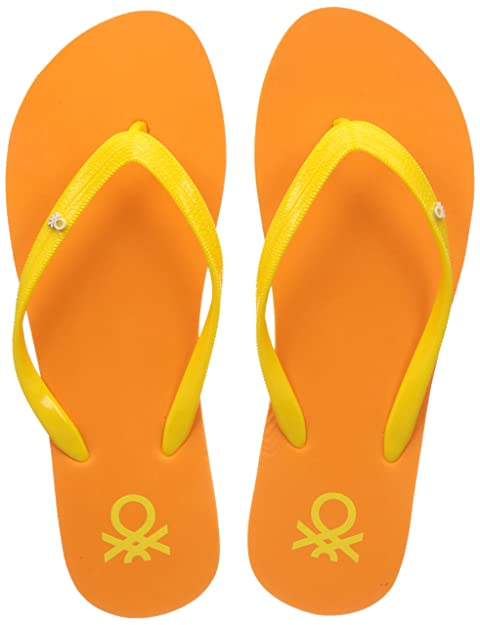 3b4f613538fb United Colors of Benetton Women s Orange Flip-Flops - 4 UK India (38