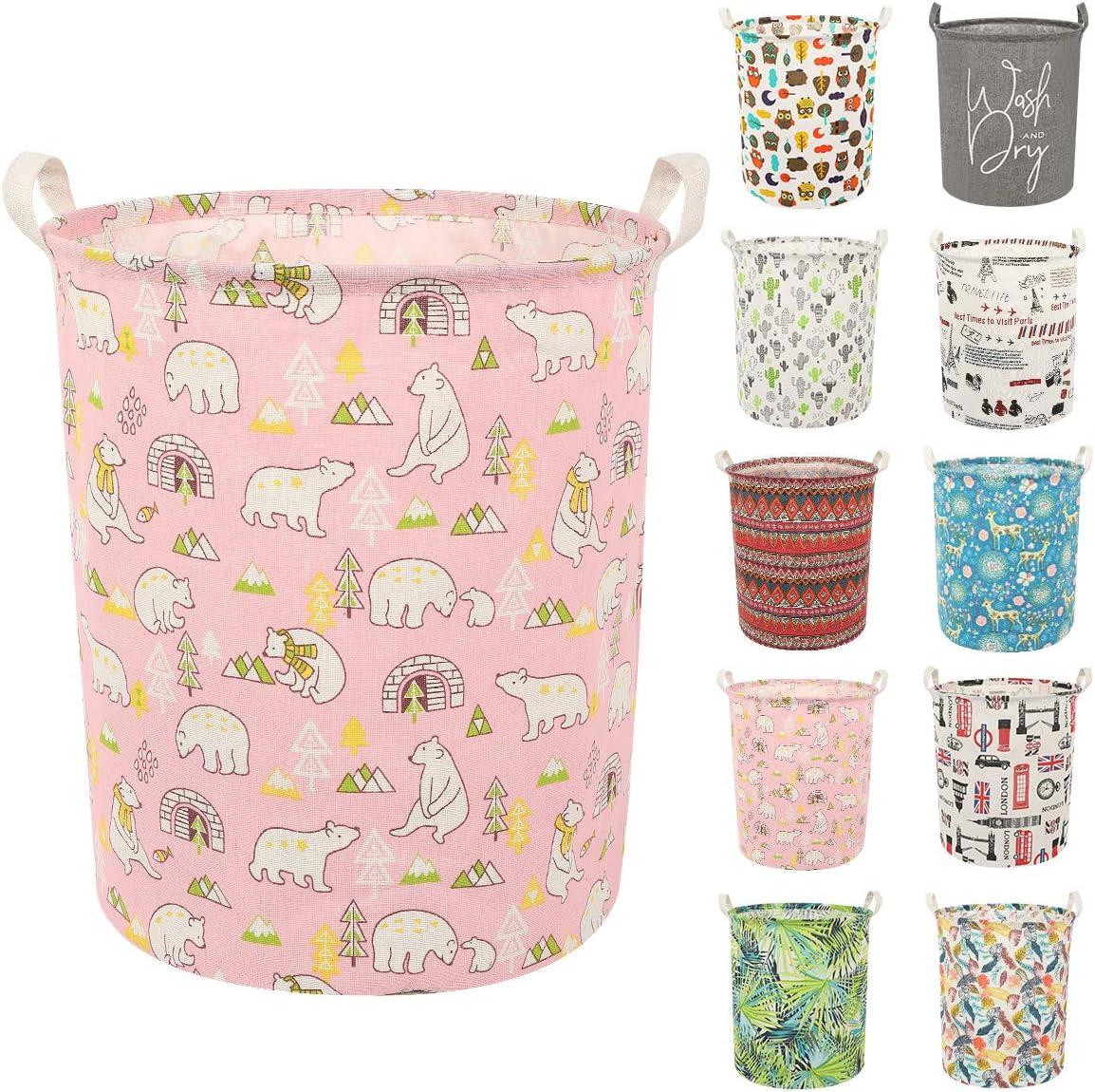 Clothes Laundry Hamper Storage Bin Large Collapsible Storage Basket Kids Canvas Laundry Basket for Home Bedroom Nursery Room (Y-Pink Polar Bear, L)