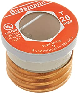 Bussmann T-20 20 Amp Type T Time-Delay Dual-Element Edison Base Plug Fuse, 125V UL Listed, pack of 4