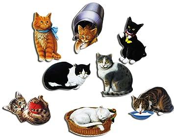 Gatos Imanes - Juego de 8 naturales Gatos - Frigorífico de imanes: GUMA Magneticum: Amazon.es: Hogar