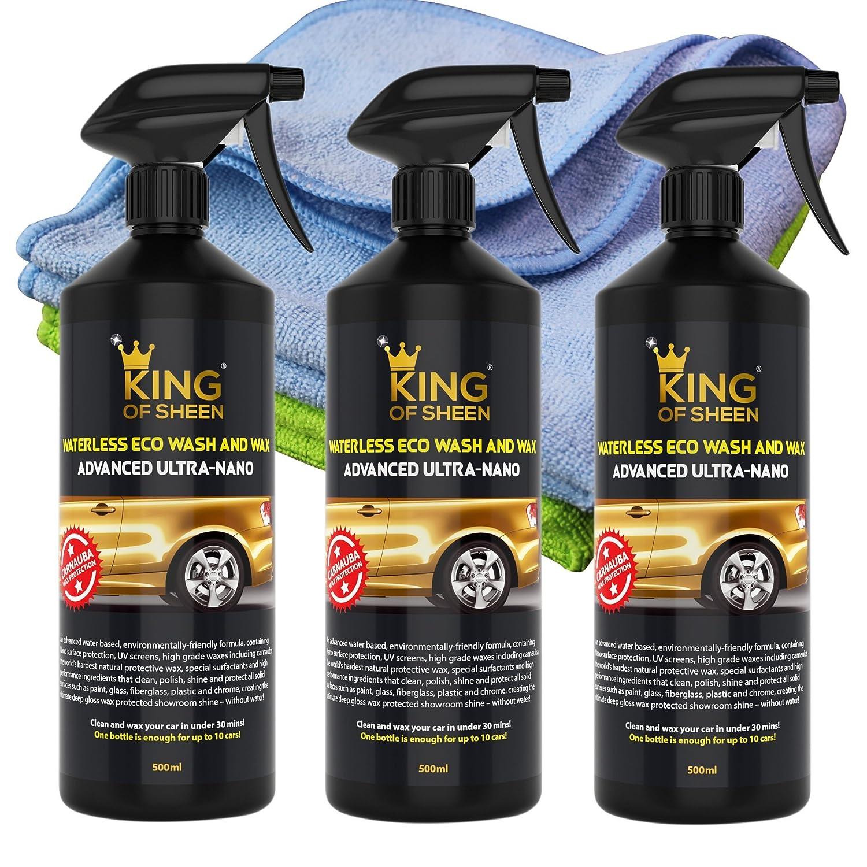 King of Sheen Advanced ultra Nano detergente e cera auto spray detergente per auto con Canauba cera e Nano polimeri per maggiore protezione e duratura brillantezza, (3 x 500 ml) + 2 panni in microfibra professionale. Eco friendly prodotto