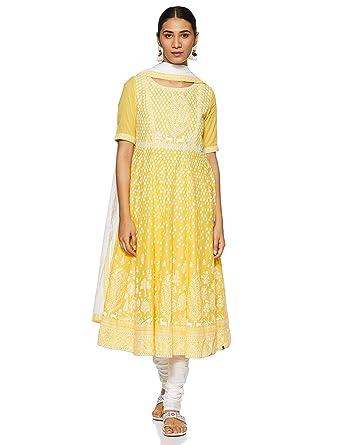 1b18114ac19 BIBA Women s Cotton Anarkali Salwar Suit Set  Amazon.in  Clothing ...