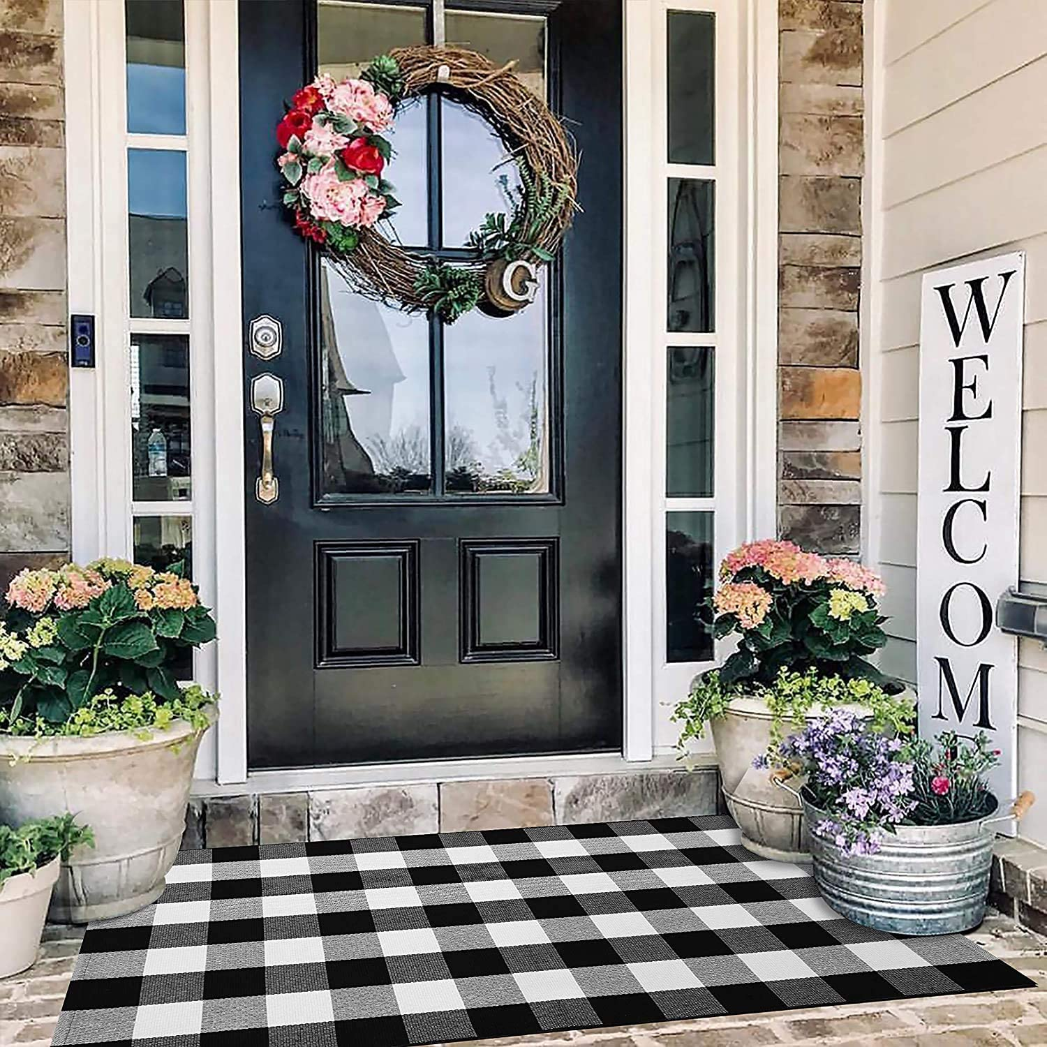 EARTHALL Buffalo Plaid Rug Outdoor 3'x 5' , Cotton Hand-Woven Checkered Door Mat, Washable Outdoor Rug Farmhouse/Kitchen/Front Porch/Living Room/Laundry Room/Bedroom (35.4''x59'')