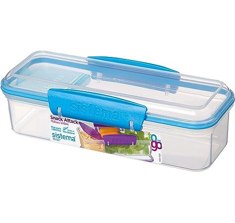 Sistema de recipientes para el almuerzo o aperitivos, 400 ml, plástico, Azul, 11.1 x 11.1 x 7.2 cm: Amazon.es: Hogar