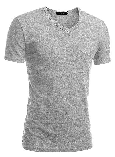 201238c1ffe Amazon.com  HEMOON Men's Short Sleeve Premium Casual Tri Blend V-Neck T-Shirt  XL Light Grey  Clothing