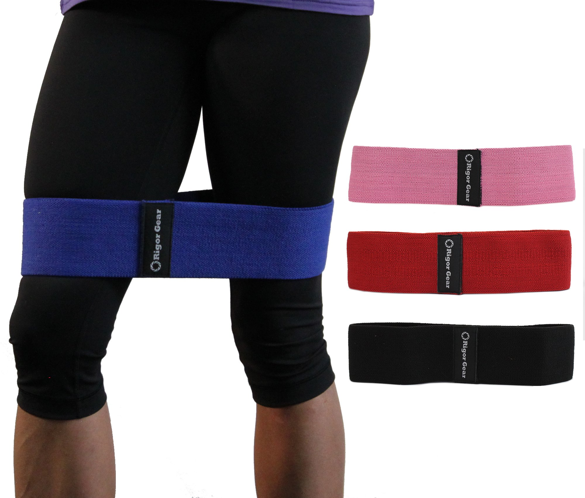 WODsuperstore Resistance Band for Legs & Butt - Grippy Hip Booty Circle Bands to Tone Glute, Thighs & Hips (Red, LG - Medium Resistance)