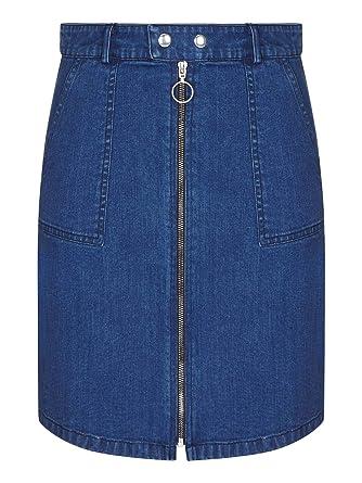 9d787d104a03 YUMI Zip Front Denim Skirt: Amazon.co.uk: Clothing