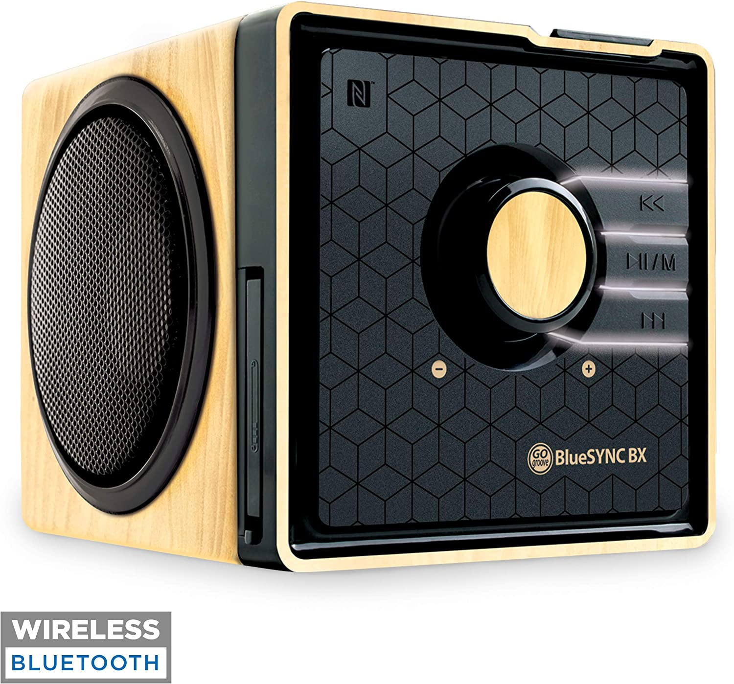 GOgroove BlueSYNC BX Portable Wireless Bluetooth Speaker - Rechargeable Compact Speaker with NFC, AUX and USB Inputs, Mic, Playback Controls for Flash Media, 4-6 Hour Battery (Wireless, Wood Brown)
