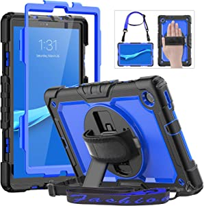 """Lenovo Tablet M10 Plus 10.3"""" FHD Case, HXCASEAC Shockproof Full Body Protective Cover with Shoulder Strap, 360° Rotatable Hand Strap/Stand, Screen Protector, Pencil Holder for Tab M10 Plus 2020, Blue"""
