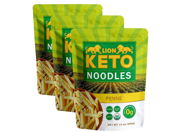 LION KETO 3 Pack | Penne | Kosher, Organic, Vegan-Friendly, Carb-Free Noodles | No Sugar, No Fat | Ready to Eat Gluten Free Pasta Diet Food | (42oz)