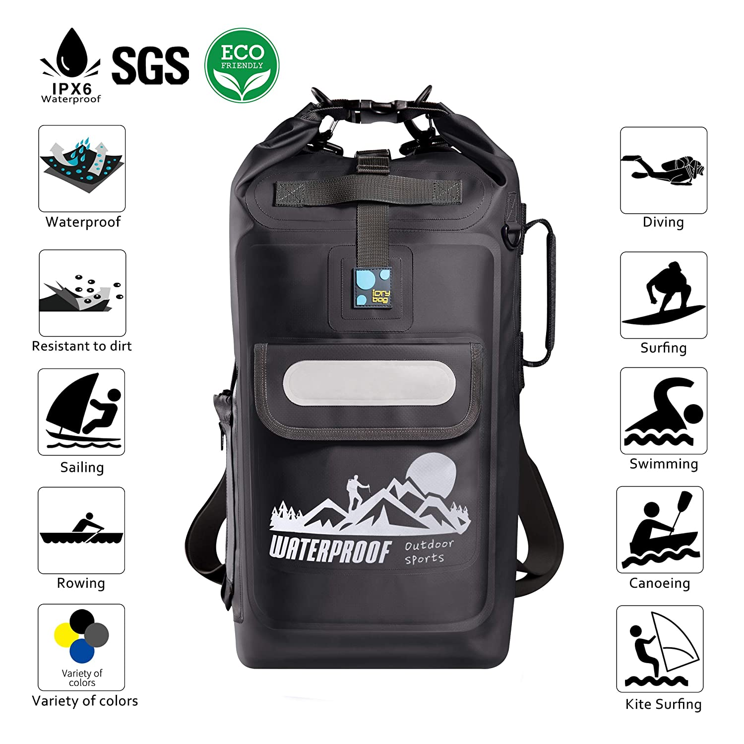 22L Floating Waterproof Dry Bag Backpack Roll Top Sack for Camping Boating