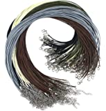 Outuxed 150pcs Bulk Necklace Cord, Multicolor 1.5mm Waxed Cotton Necklace Chain with Lobster Claw Clasp for Pendants…