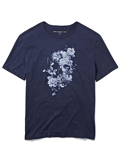 976eeb9bf Amazon.com: John Varvatos Men's Short Sleeve Floral Skull Graphic Crew T- Shirt Small Navy: Clothing