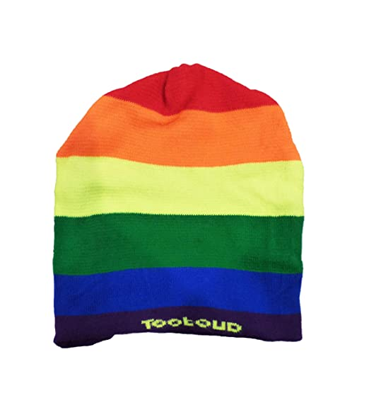 510bdc7577d Amazon.com  TooLoud Rainbow Horizontal Gay Pride Flag Adult Knit Beanie Cap Hat  All Over Print  Clothing