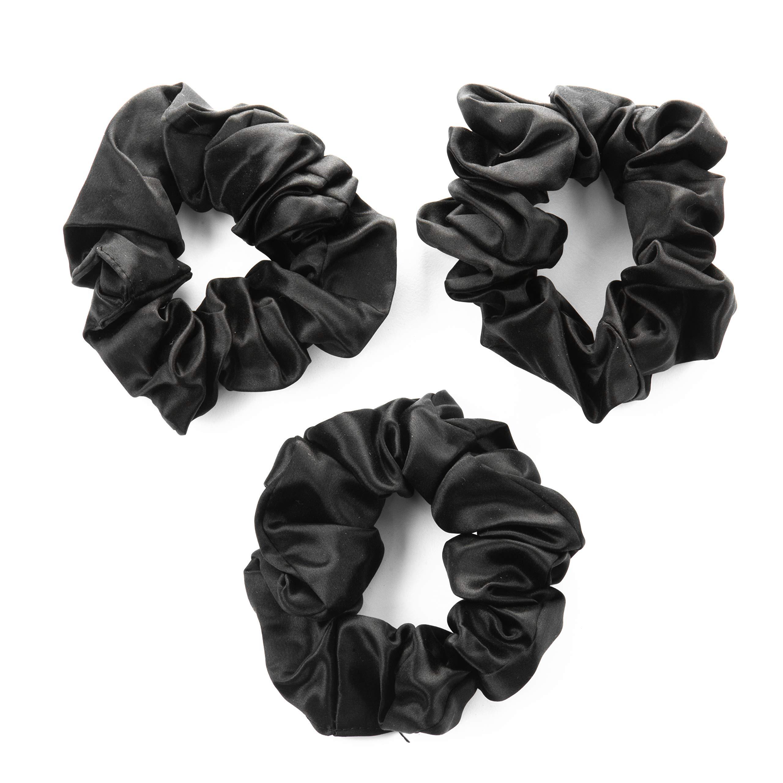 100% Premium Mulberry Silk Hair Luxe Scrunchies (Pack of 3 Black Hair Ties Per Box) by Hair Luxe
