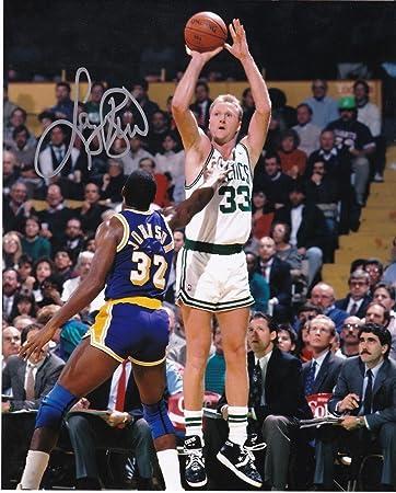 b3e88281d32 LARRY BIRD BOSTON CELTICS W MAGIC JOHNSON ACTION SIGNED 8x10 - Autographed  NBA Photos